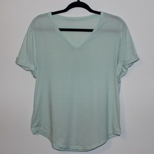 Lululemon | Mint Green and Grey Stripped T-Shirt
